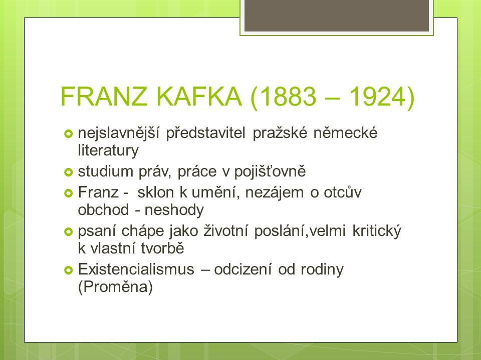 FRANZ KAFKA (1883 – 1924) nejslavnější představitel pražské německé literatury. studium práv, práce v pojišťovně.