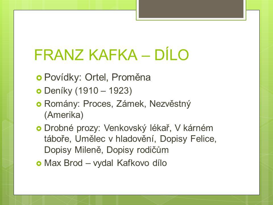 FRANZ KAFKA – DÍLO Povídky: Ortel, Proměna Deníky (1910 – 1923)