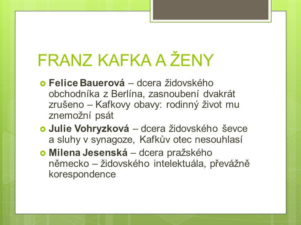 FRANZ KAFKA A ŽENY
