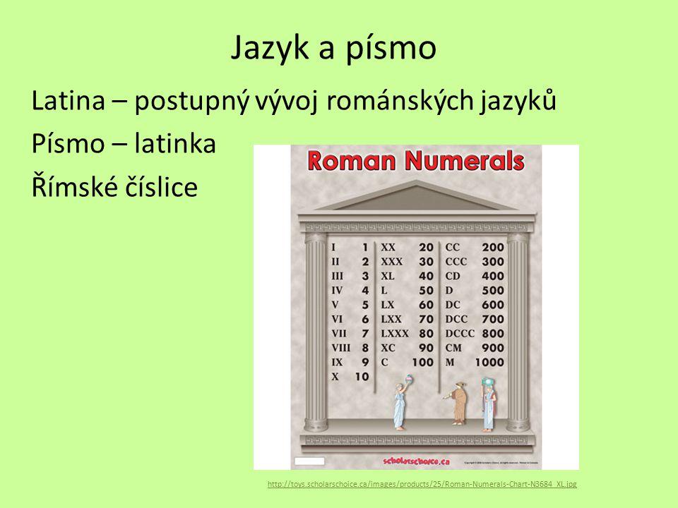 Jazyk a písmo Latina – postupný vývoj románských jazyků Písmo – latinka Římské číslice