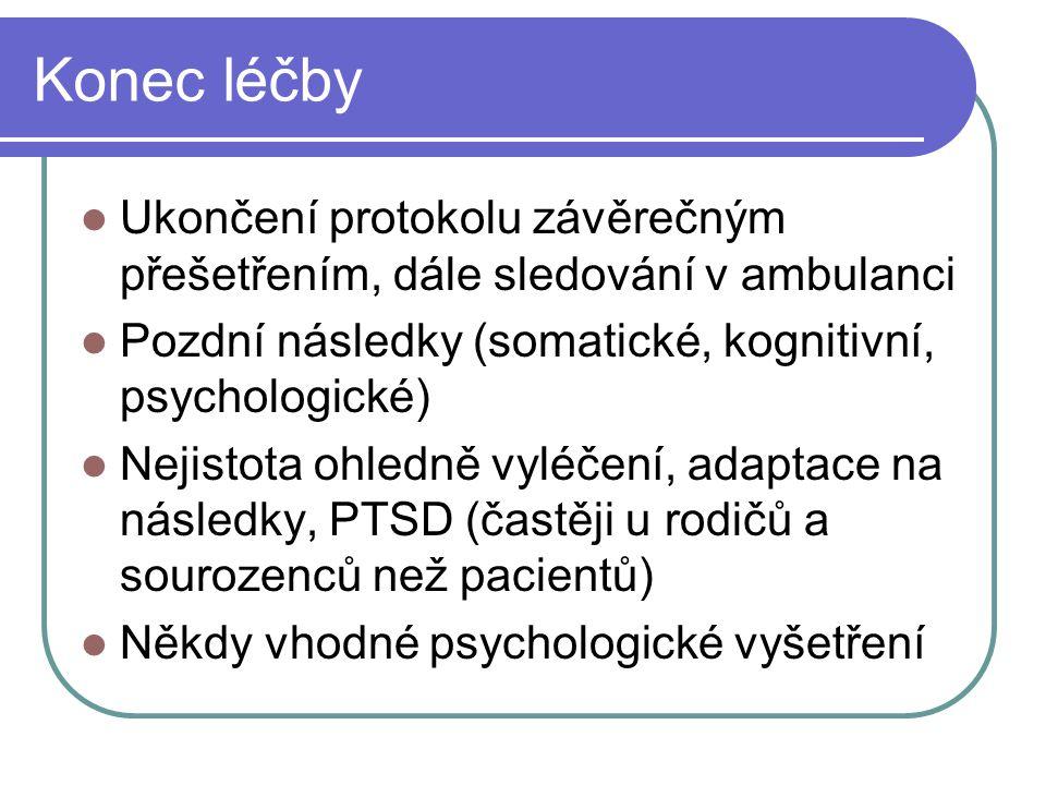 Konec léčby Ukončení protokolu závěrečným přešetřením, dále sledování v ambulanci. Pozdní následky (somatické, kognitivní, psychologické)