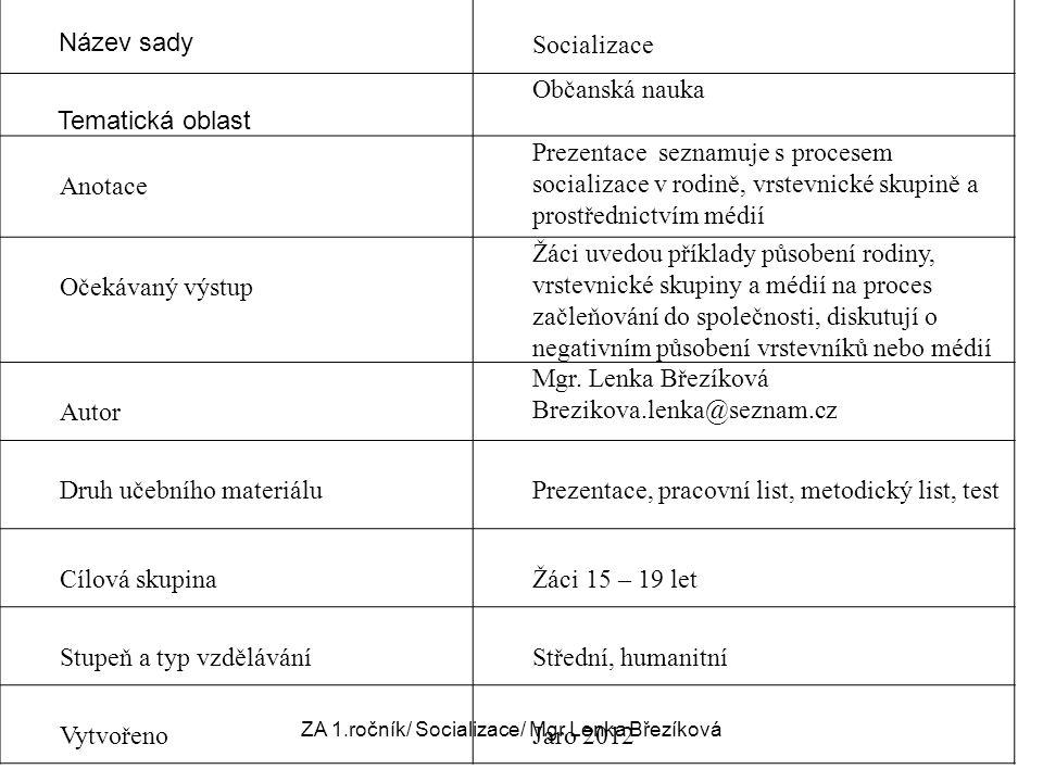 ZA 1.ročník/ Socializace/ Mgr.Lenka Březíková