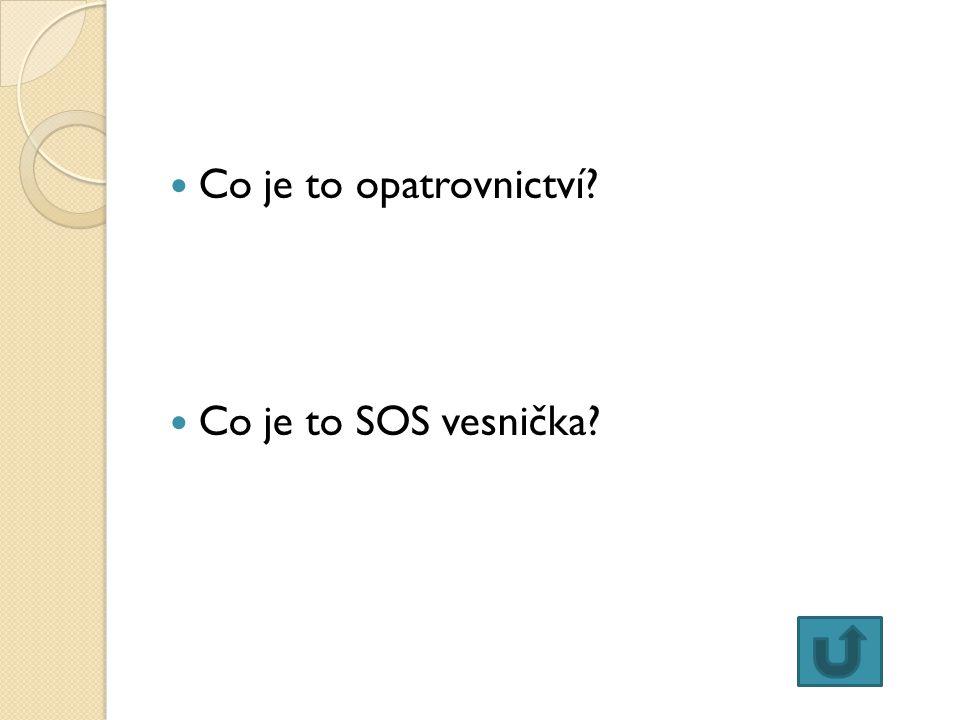 Co je to opatrovnictví Co je to SOS vesnička