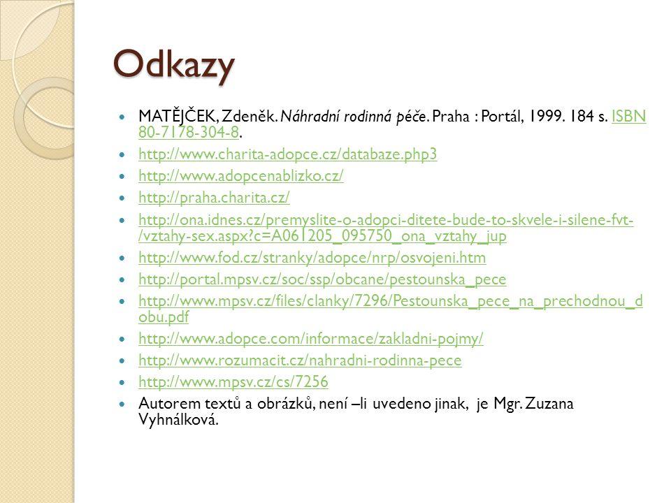 Odkazy MATĚJČEK, Zdeněk. Náhradní rodinná péče. Praha : Portál, 1999. 184 s. ISBN 80-7178-304-8. http://www.charita-adopce.cz/databaze.php3.
