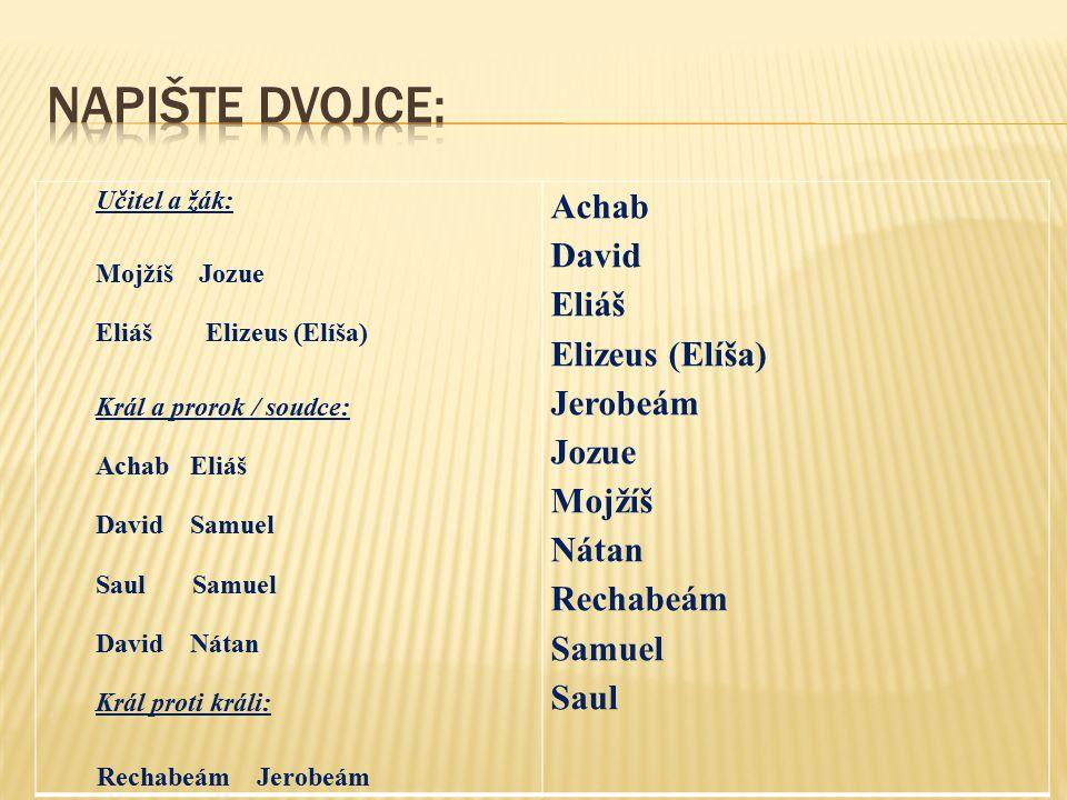 Napište dvojce: Achab David Eliáš Elizeus (Elíša) Jerobeám Jozue