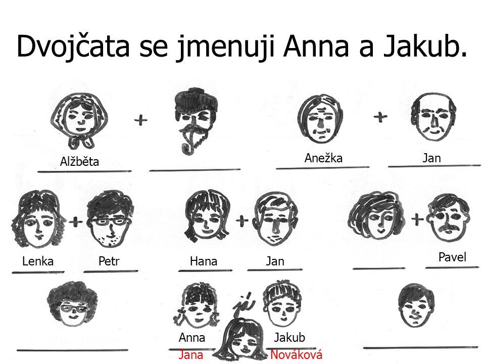 Dvojčata se jmenuji Anna a Jakub.