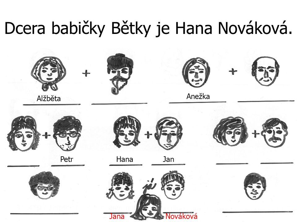 Dcera babičky Bětky je Hana Nováková.