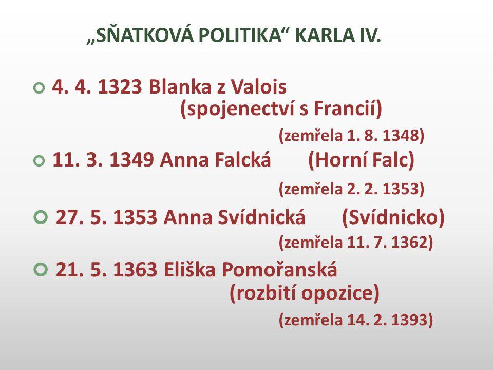 """""""SŇATKOVÁ POLITIKA KARLA IV."""