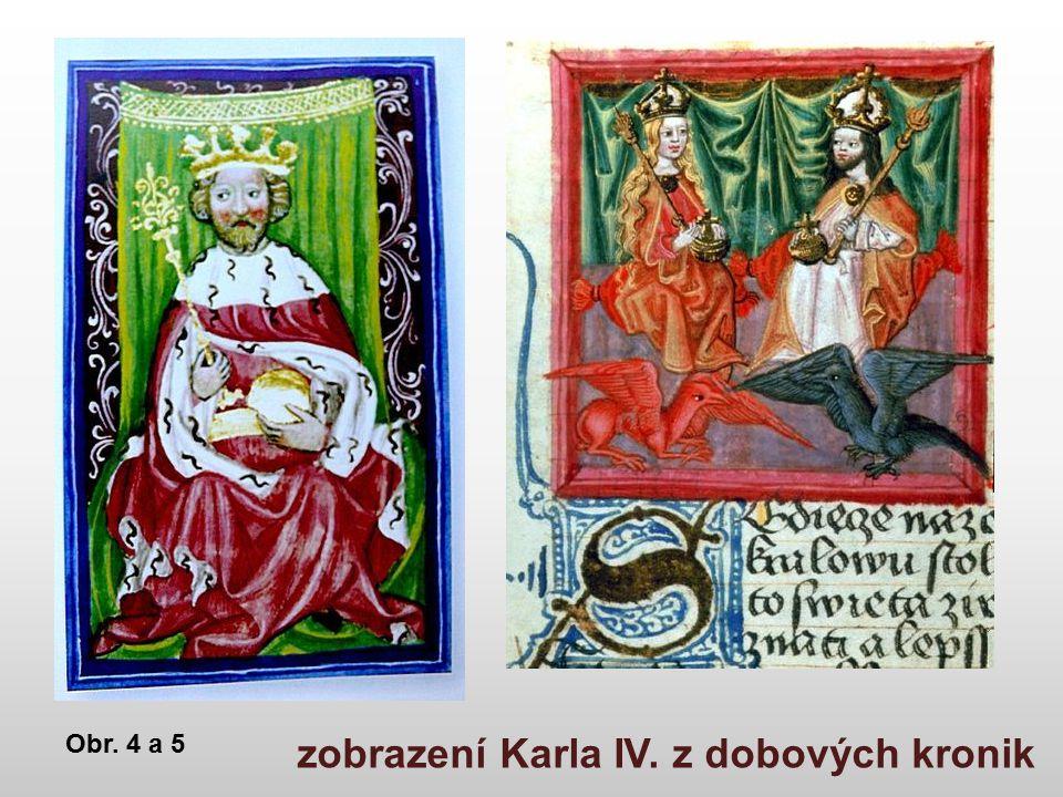 zobrazení Karla IV. z dobových kronik