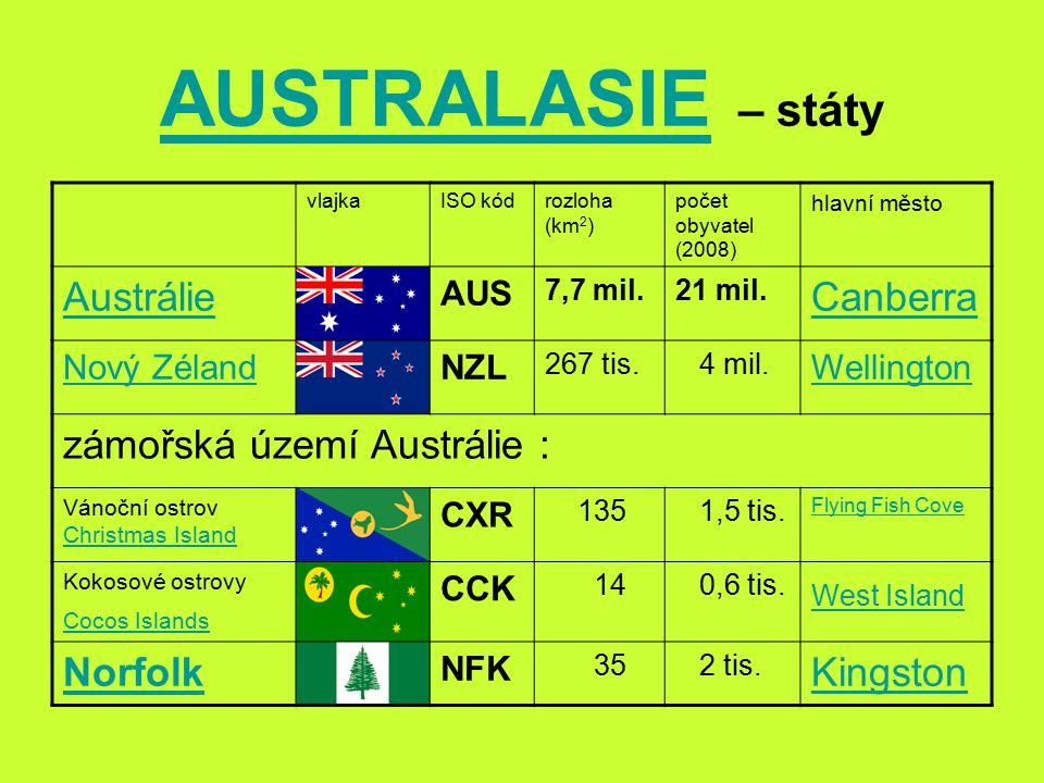 AUSTRALASIE – státy Austrálie Canberra zámořská území Austrálie :