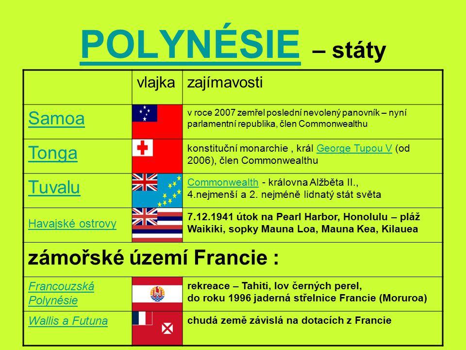POLYNÉSIE – státy zámořské území Francie : Samoa Tonga Tuvalu vlajka