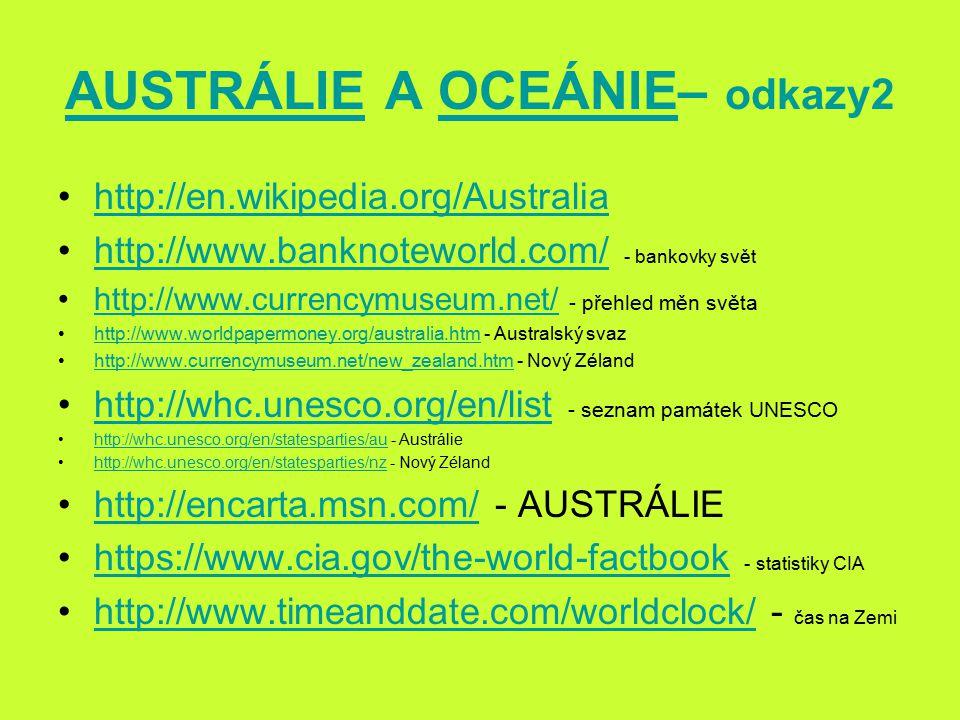 AUSTRÁLIE A OCEÁNIE– odkazy2