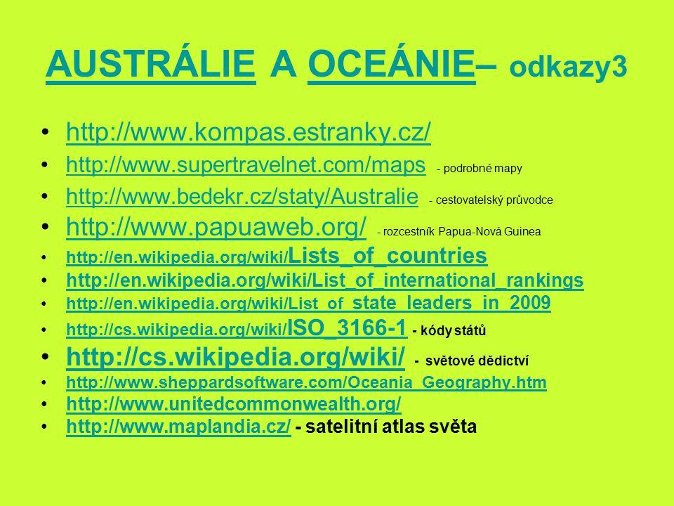 AUSTRÁLIE A OCEÁNIE– odkazy3