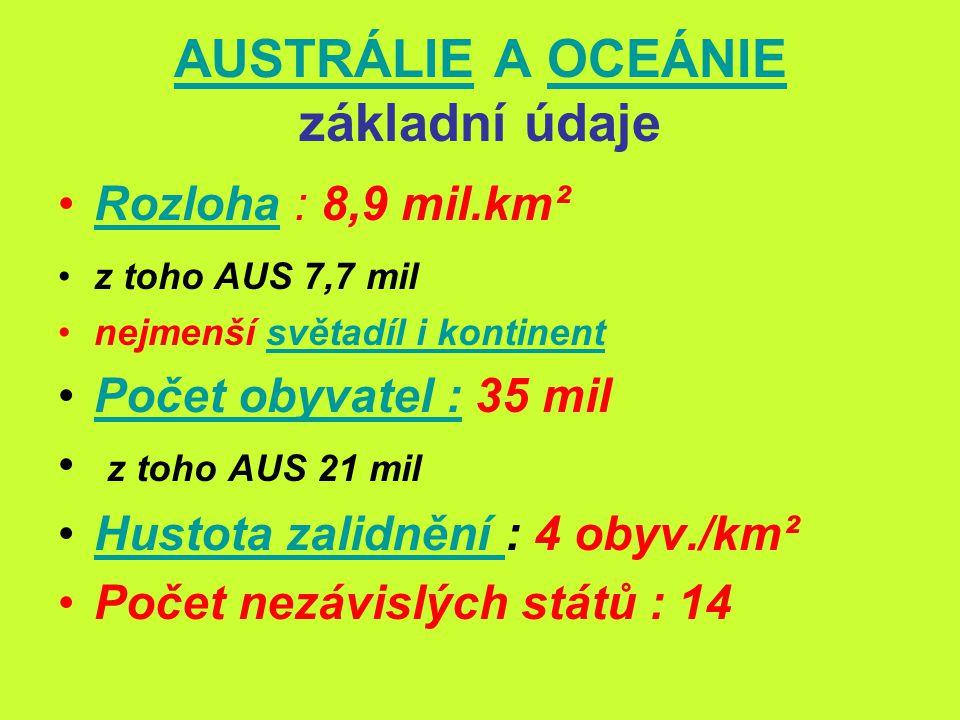 AUSTRÁLIE A OCEÁNIE základní údaje