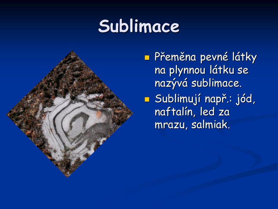 Sublimace Přeměna pevné látky na plynnou látku se nazývá sublimace.
