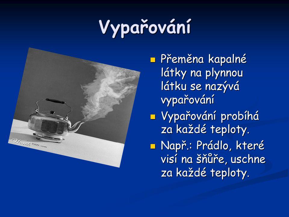 Vypařování Přeměna kapalné látky na plynnou látku se nazývá vypařování