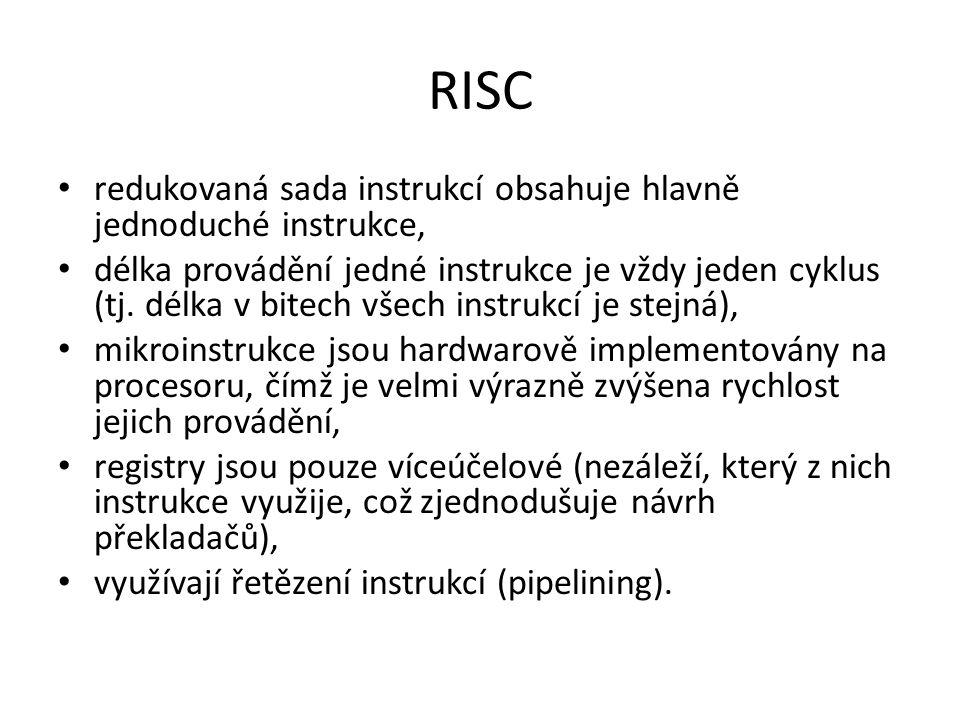 RISC redukovaná sada instrukcí obsahuje hlavně jednoduché instrukce,