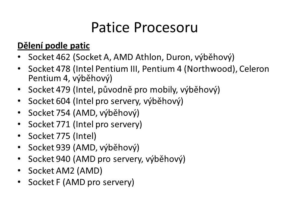 Patice Procesoru Dělení podle patic