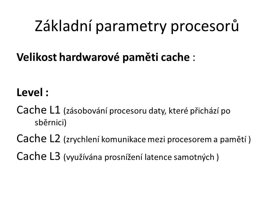 Základní parametry procesorů