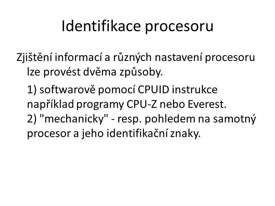 Identifikace procesoru
