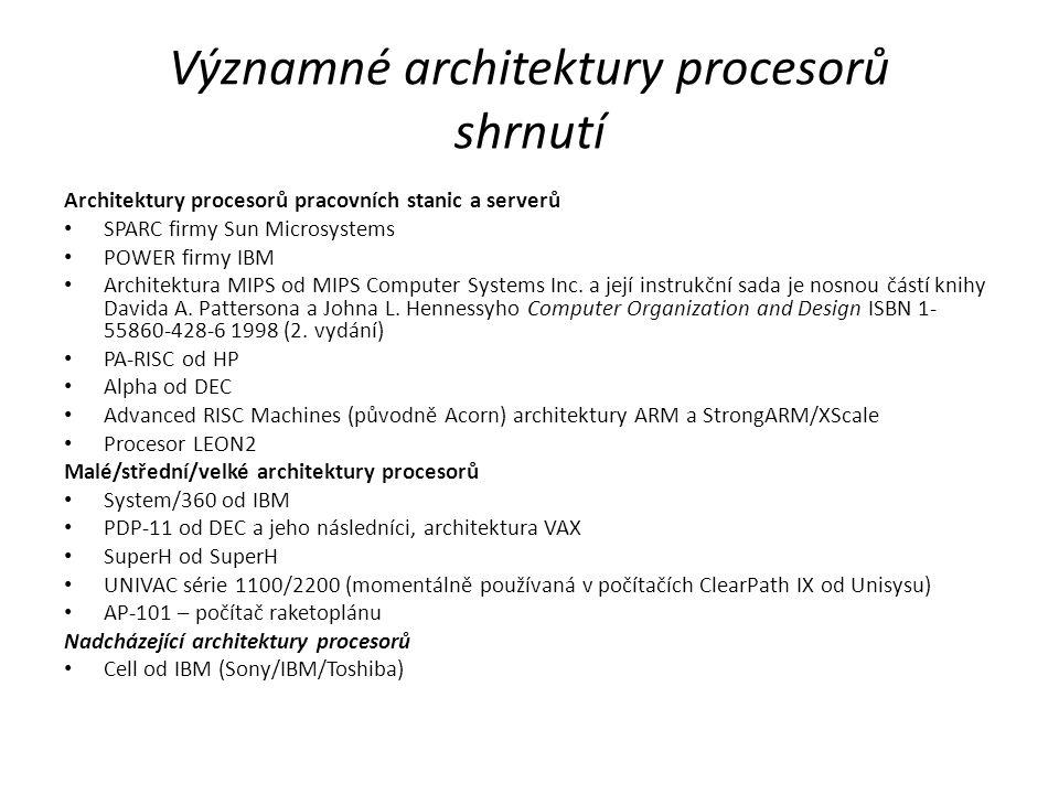 Významné architektury procesorů shrnutí