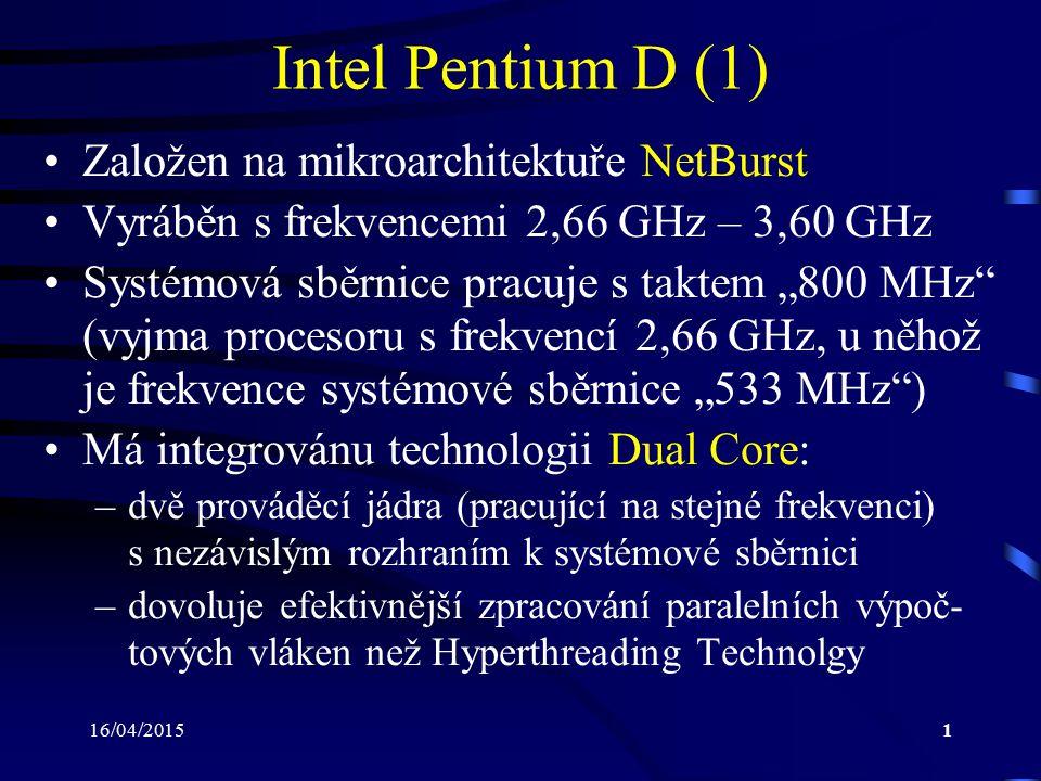 Intel Pentium D (1) Založen na mikroarchitektuře NetBurst