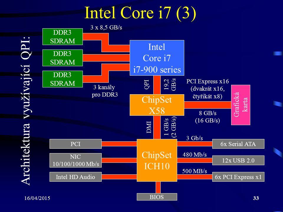 Intel Core i7 (3) Architektura využívající QPI: Intel Core i7