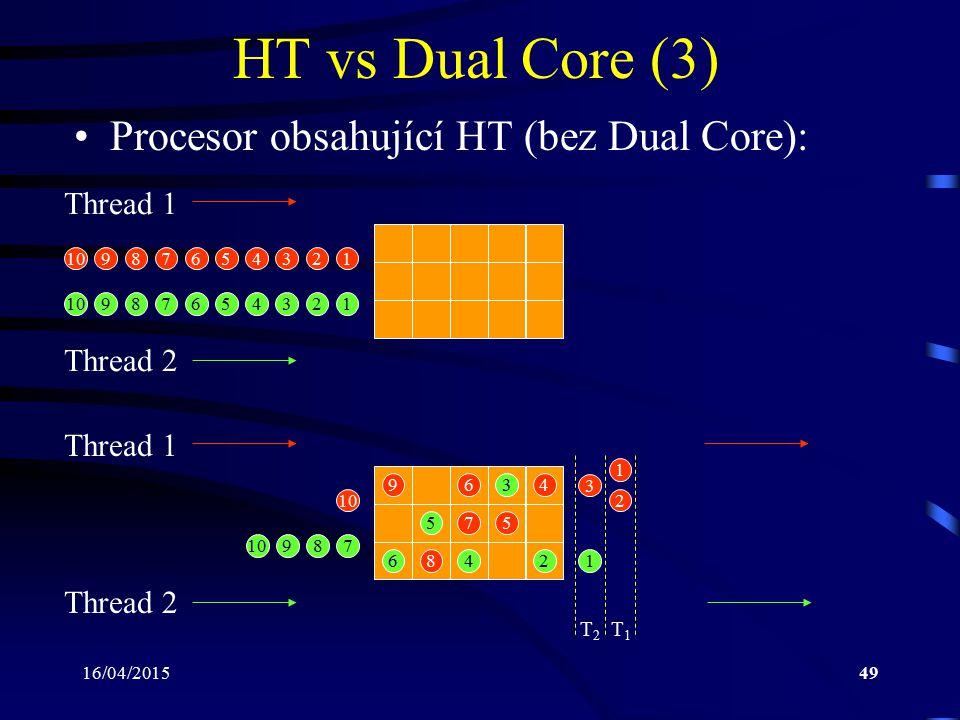 HT vs Dual Core (3) Procesor obsahující HT (bez Dual Core): Thread 1