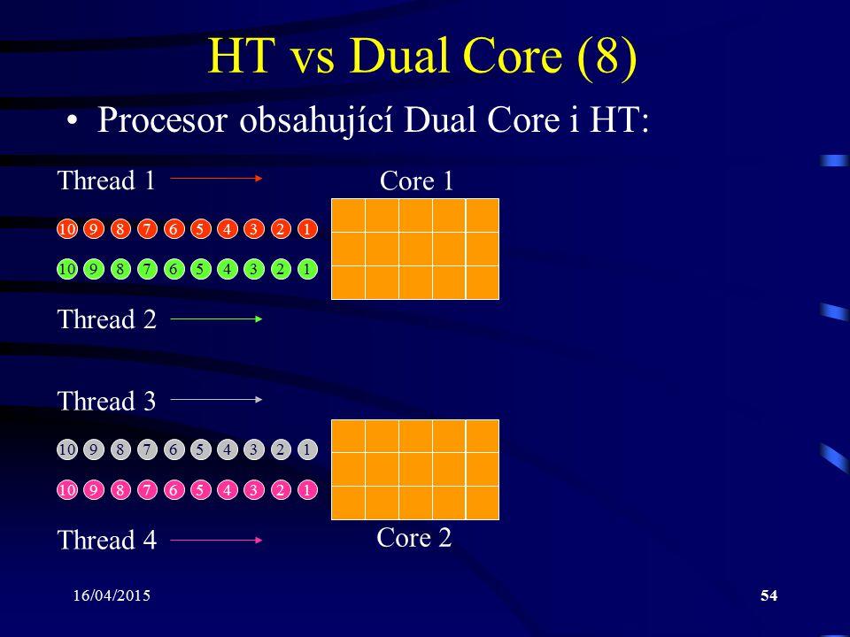 HT vs Dual Core (8) Procesor obsahující Dual Core i HT: Core 1