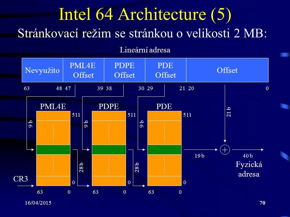 Intel 64 Architecture (5) Stránkovací režim se stránkou o velikosti 2 MB: Lineární adresa. Nevyužito.