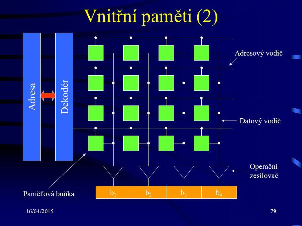 Vnitřní paměti (2) Dekodér Adresa Adresový vodič Datový vodič Operační