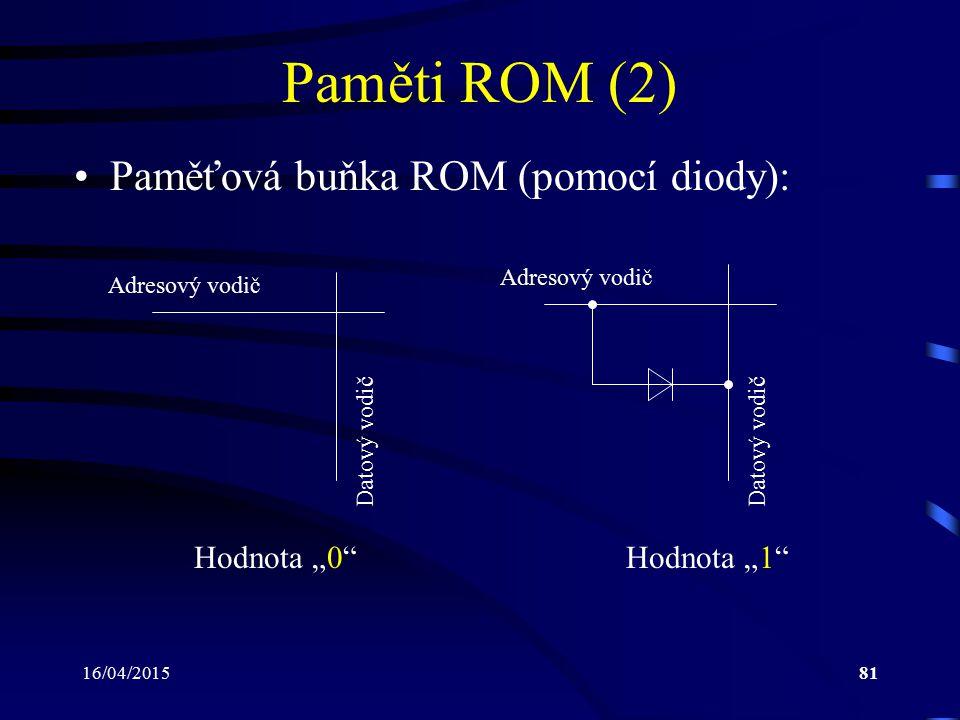"""Paměti ROM (2) Paměťová buňka ROM (pomocí diody): Hodnota """"0"""