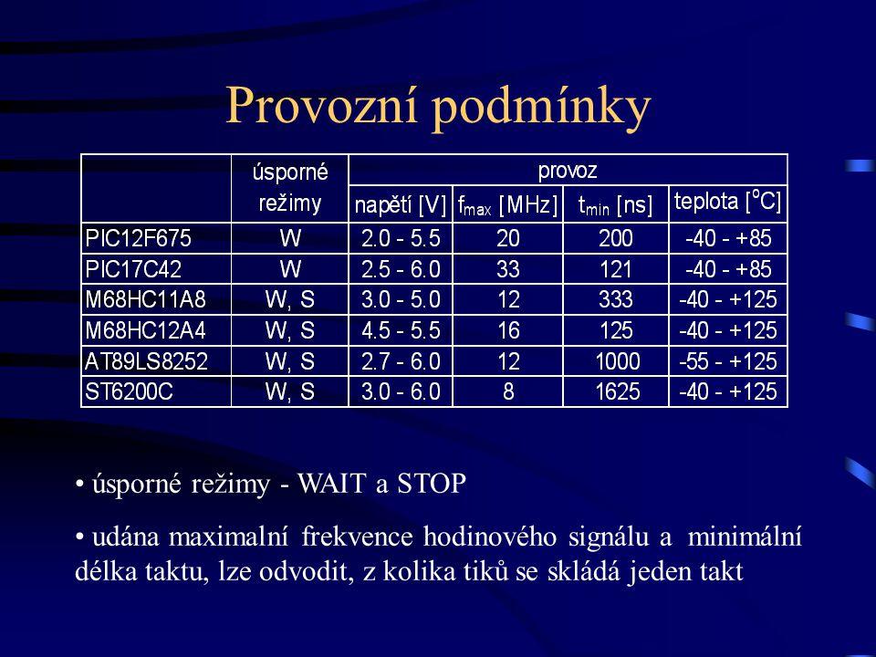 Provozní podmínky úsporné režimy - WAIT a STOP