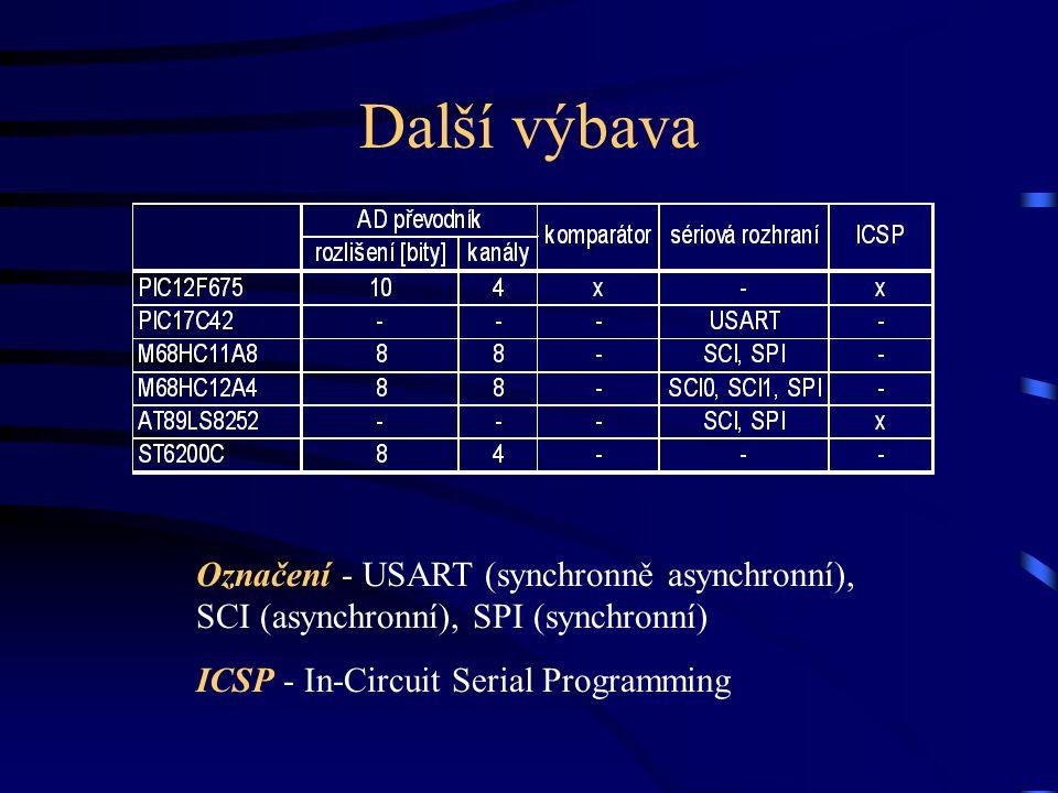 Další výbava Označení - USART (synchronně asynchronní), SCI (asynchronní), SPI (synchronní) ICSP - In-Circuit Serial Programming.