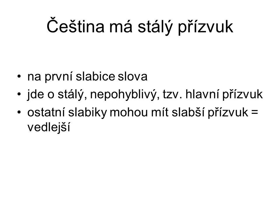 Čeština má stálý přízvuk