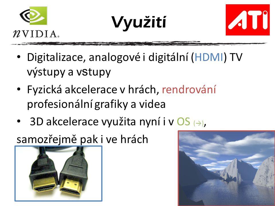 Využití Digitalizace, analogové i digitální (HDMI) TV výstupy a vstupy