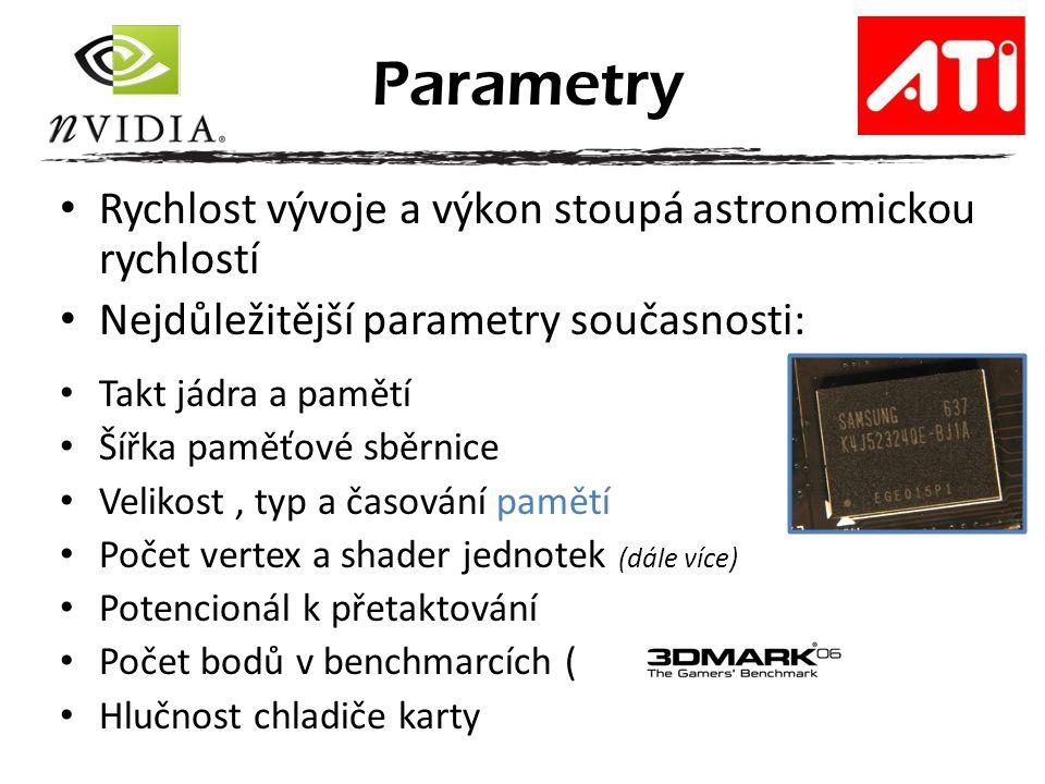 Parametry Rychlost vývoje a výkon stoupá astronomickou rychlostí