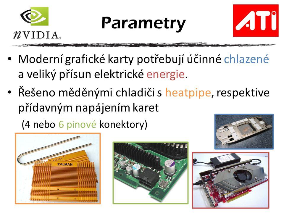 Parametry Moderní grafické karty potřebují účinné chlazené a veliký přísun elektrické energie.