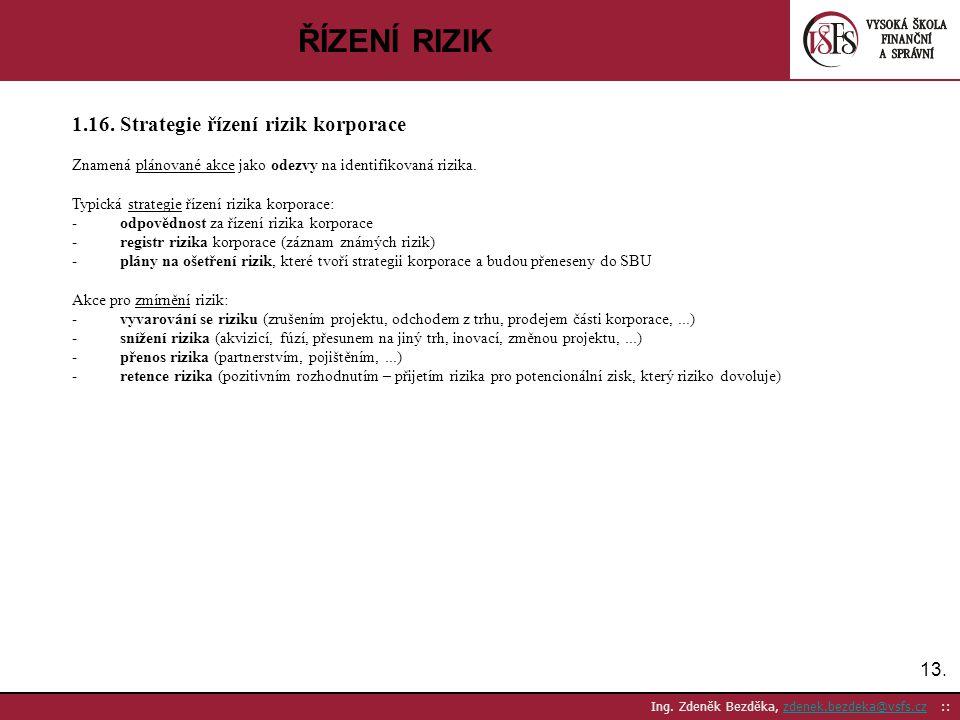 ŘÍZENÍ RIZIK 1.16. Strategie řízení rizik korporace 13.