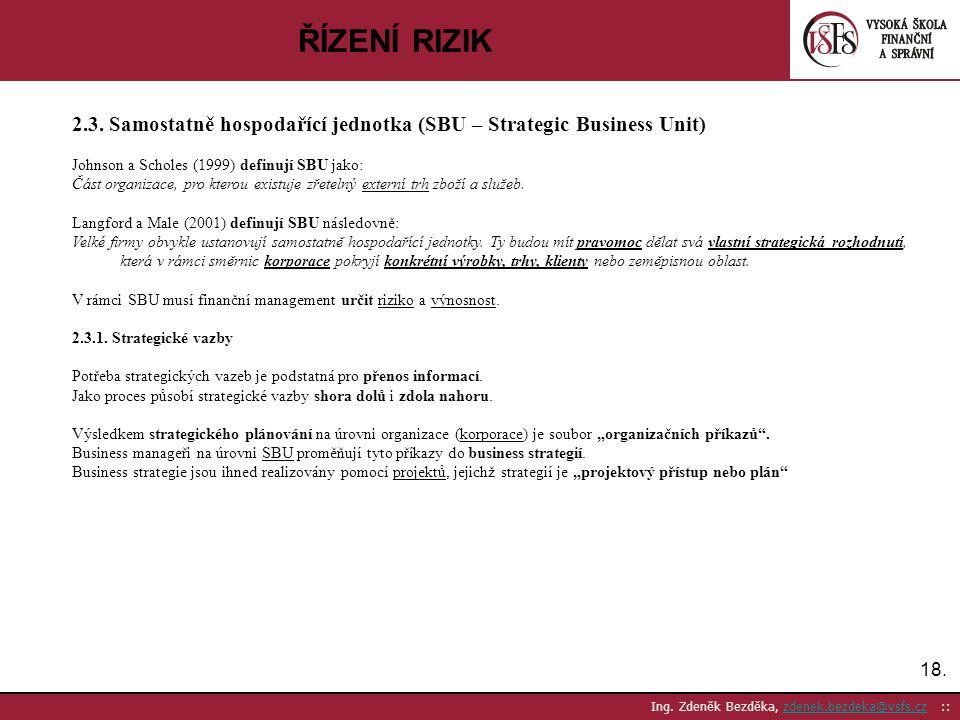 ŘÍZENÍ RIZIK 2.3. Samostatně hospodařící jednotka (SBU – Strategic Business Unit) Johnson a Scholes (1999) definují SBU jako: