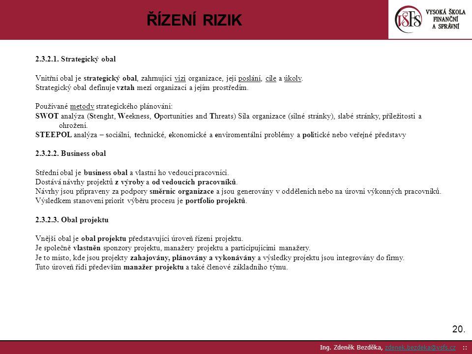 ŘÍZENÍ RIZIK 20. 2.3.2.1. Strategický obal
