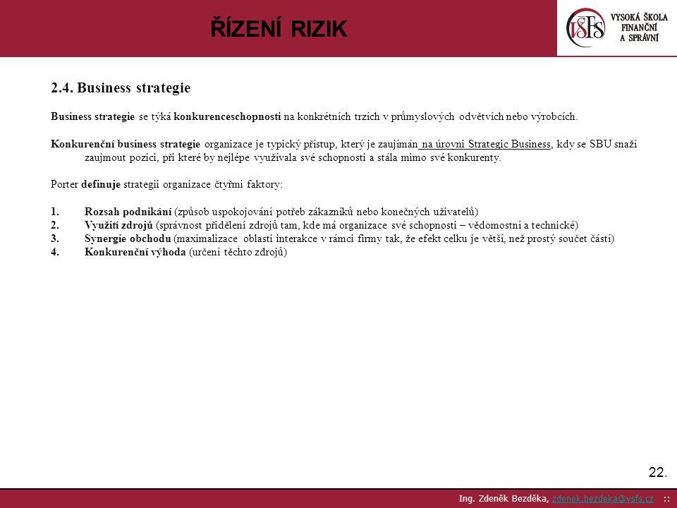ŘÍZENÍ RIZIK 2.4. Business strategie 22.