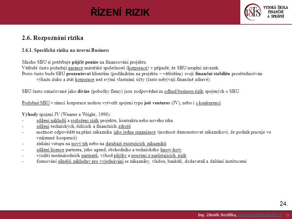 ŘÍZENÍ RIZIK 2.6. Rozpoznání rizika 24.