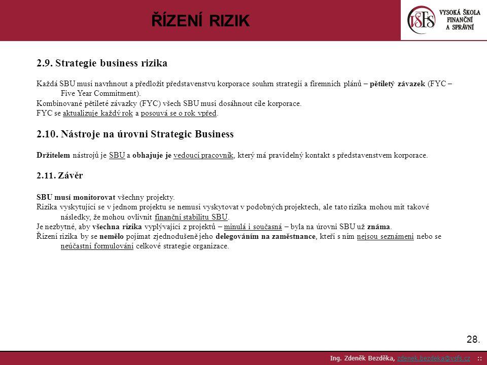 ŘÍZENÍ RIZIK 2.9. Strategie business rizika