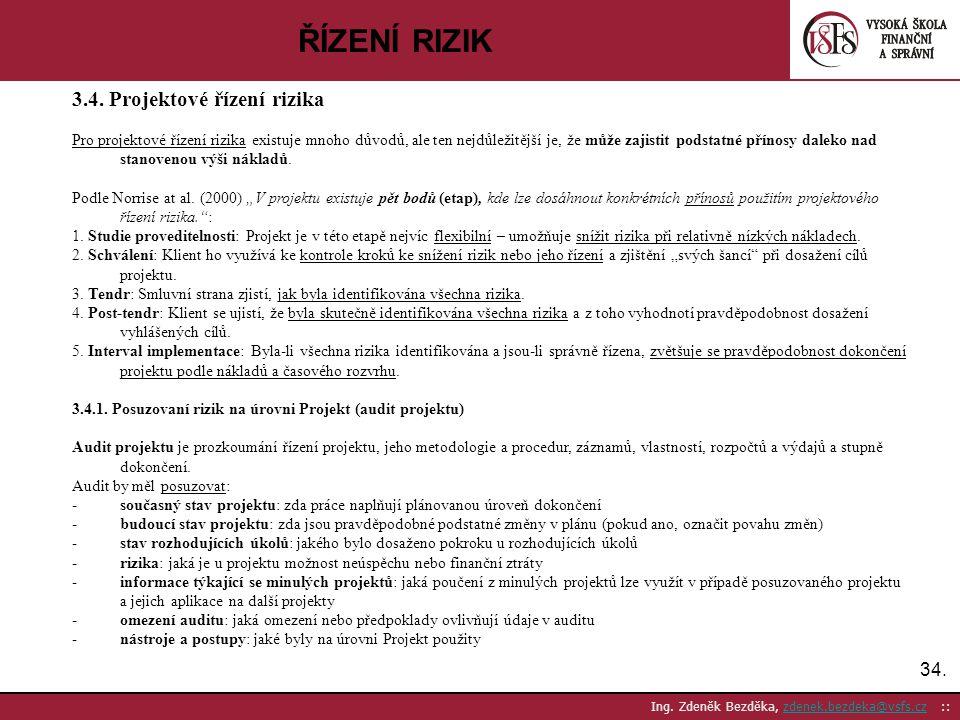 ŘÍZENÍ RIZIK 3.4. Projektové řízení rizika 34.