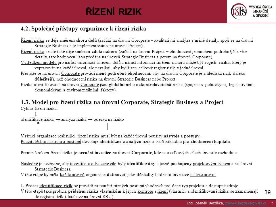 ŘÍZENÍ RIZIK 4.2. Společné přístupy organizace k řízení rizika