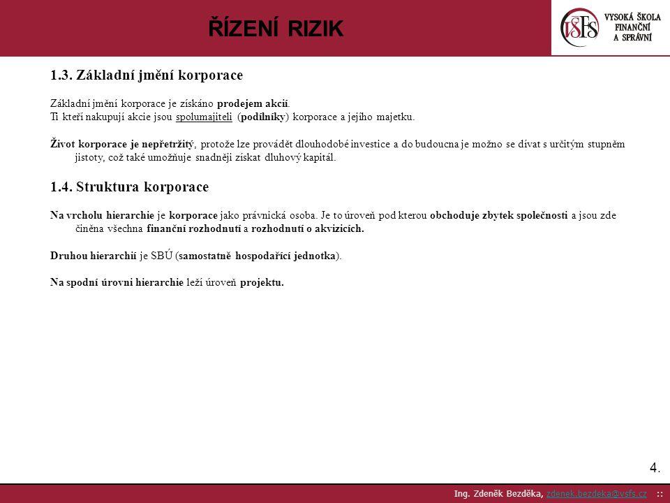 ŘÍZENÍ RIZIK 1.3. Základní jmění korporace 1.4. Struktura korporace 4.