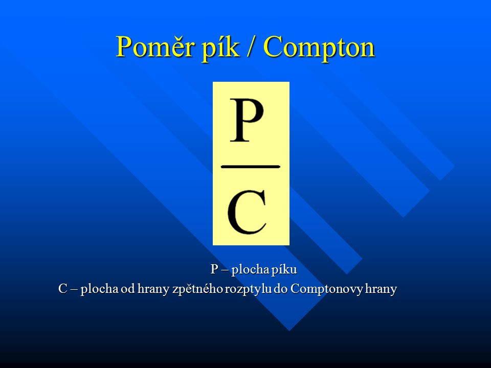 Poměr pík / Compton P – plocha píku