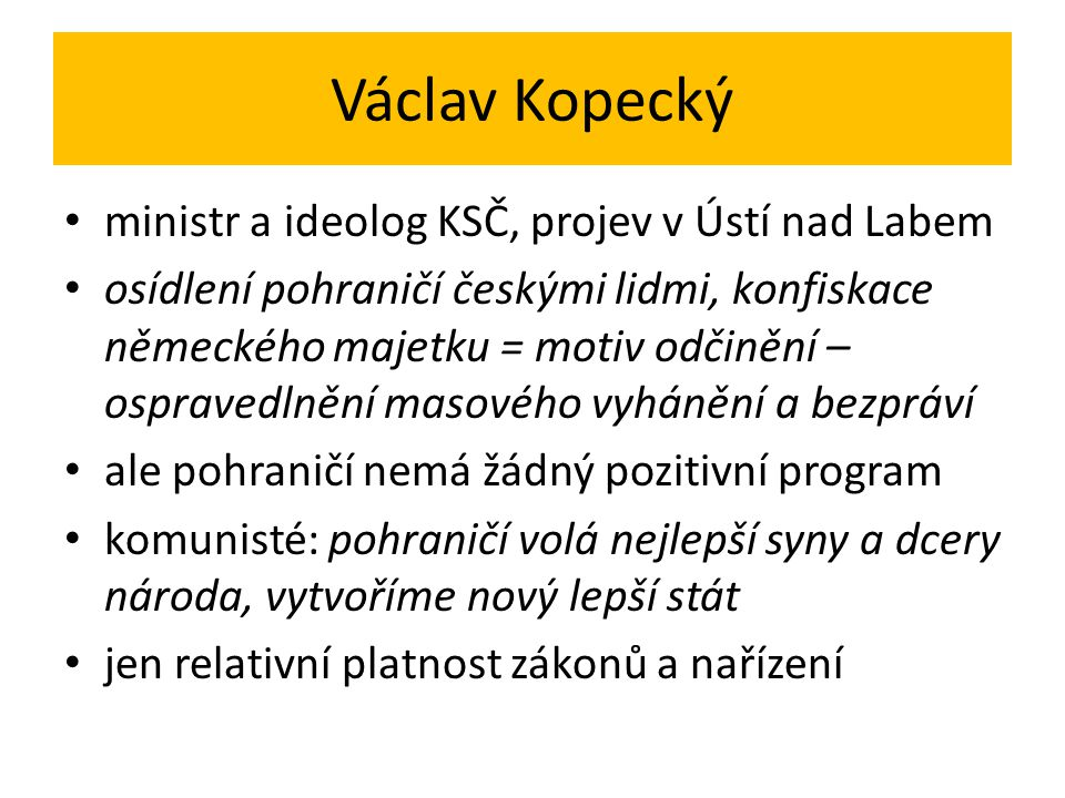 Václav Kopecký ministr a ideolog KSČ, projev v Ústí nad Labem