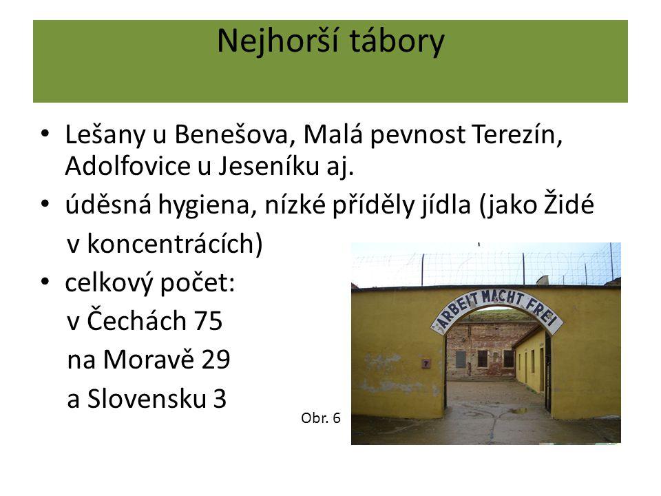 Nejhorší tábory Lešany u Benešova, Malá pevnost Terezín, Adolfovice u Jeseníku aj. úděsná hygiena, nízké příděly jídla (jako Židé.